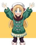 1girl :d \o/ arms_up bangs beret black_legwear blonde_hair blue_eyes blush boots brown_scarf coat commentary_request disconnected_mouth duffel_coat eyebrows_visible_through_hair feet_out_of_frame game_center_shoujo_to_ibunka_kouryuu green_coat happy hat lily_baker long_hair long_sleeves looking_at_viewer open_mouth outstretched_arms pantyhose pleated_skirt scarf skirt smile solo standing two-tone_background white_background white_footwear white_headwear white_skirt yellow_background yuu_kurema