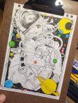 1girl crescent_moon full_body kitamurashu moon original photo_(medium) planetary_ring short_hair solo space_helmet spacesuit star_(symbol) traditional_media ufo white_hair yellow_eyes