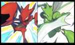 black_border border closed_mouth commentary_request fang fang_out gen_1_pokemon gen_2_pokemon hata4564 highres no_humans perspective pincers pokemon pokemon_(creature) scizor scyther splitscreen yellow_eyes