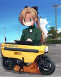 1girl akigumo_(kancolle) black_ribbon blue_sky brown_hair can clouds commentary_request day drawing_tablet energy_drink green_eyes green_shirt ground_vehicle hair_ribbon highres kakizaki_(chou_neji) kantai_collection left-handed long_hair long_skirt long_sleeves minibike moped motocompo motor_vehicle motorcycle official_alternate_costume orange_skirt outdoors ponytail red_bull ribbon seiza shaded_face shirt sitting skirt sky solo stylus tree