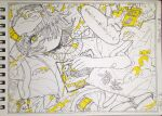 1girl arm_up belt book earphones earphones hair_over_one_eye highres kitamurashu monochrome original parted_lips photo_(medium) print_shirt shirt short_sleeves solo spot_color traditional_media yellow_eyes yellow_nails