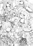 6+girls :< absurdres ahoge akebono_(kancolle) anniversary bangs blush book braid breasts closed_eyes closed_mouth cloud_hair_ornament congratulations copyright_name crescent crescent_hair_ornament crossed_arms depth_charge eyebrows_visible_through_hair fairy_(kancolle) flower glasses greyscale hachijou_(kancolle) hair_between_eyes hair_flower hair_ornament hair_ribbon hairclip hat headgear highres i-8_(kancolle) innertube jacket kantai_collection long_hair long_sleeves minegumo_(kancolle) monochrome multiple_girls nagatsuki_(kancolle) name_tag open_mouth ponytail ribbon school_swimsuit short_hair smile star_(symbol) suspenders sweat swimsuit torpedo traditional_media tsuji_kazuho twin_braids yamakaze_(kancolle) yukikaze_(kancolle)