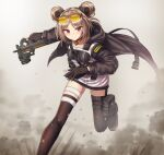 1girl blush breasts bullpup commission double_bun girls_frontline gun highres light_brown_hair medium_breasts p90 p90_(girls_frontline) red_eyes short_hair skeb_commission skindentation smile solo submachine_gun thigh-highs weapon yakob_labo