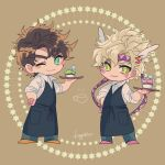 2boys alternate_costume apron aqua_eyes artist_name battle_tendency black_apron blonde_hair blue_pants brown_background brown_hair caesar_anthonio_zeppeli chibi closed_mouth collared_shirt commentary cup dot_nose eyebrows_visible_through_hair facial_mark feathers food full_body green_eyes hair_feathers hand_on_hip headband hexagram highres holding holding_tray jojo_no_kimyou_na_bouken joseph_joestar_(young) kogatarou looking_at_viewer male_focus multiple_boys notice_lines one_eye_closed orange_footwear pants pink_footwear pocket shirt short_hair signature sleeves_rolled_up smile standing symbol_commentary tray triangle_print waiter white_shirt