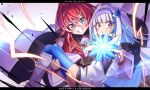 2girls :o absurdres ange_katrina blue_hair blush cape character_name colored_inner_hair crystal electricity eyebrows_visible_through_hair feather_hair_ornament flat_chest highres lize_helesta multicolored_hair multiple_girls nijisanji open_hand open_mouth papa-kun_(destiny549-2) red_sweater redhead short_hair silver_hair skindentation streaked_hair sweater thigh-highs triangle_hair_ornament v-shaped_eyebrows violet_eyes virtual_youtuber
