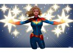 1girl belt blonde_hair breasts brown_eyes captain_marvel cowboy_shot fingerless_gloves floating_hair gloves glowing highres large_breasts long_hair marvel okada_(hoooojicha) outstretched_arms red_gloves signature solo