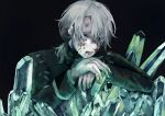 1boy aesop_carl black_background blood blood_on_face bruise bruise_on_face crystal grey_hair hair_over_one_eye highres identity_v injury long_sleeves looking_at_viewer male_focus solo stitches upper_body