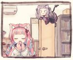 2girls :3 anchor_hair_ornament animal_ear_fluff animal_ears bangs black_dress blue_hair blush braid cat_ears cat_girl cat_tail dress eyebrows_visible_through_hair finger_licking gothic_lolita grey_hair hair_ornament hololive kemonomimi_mode licking lolita_fashion minato_aqua multicolored_hair multiple_girls murasaki_shion neko_(minato_aqua) paws pink_hair sailor_collar smile streaked_hair tail tonton_(tonz159) twin_braids virtual_youtuber wide-eyed yellow_eyes