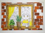 1girl brick_wall curtains hand_up highres kitamurashu long_sleeves open_mouth original plant potted_plant shadow short_hair solo sweater white_hair window yellow_eyes yellow_sweater