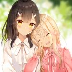 2girls :d ^_^ bangs black_hair blonde_hair blurry blurry_background blush bow brown_eyes closed_eyes collared_shirt commentary_request depth_of_field dress_shirt eyebrows_visible_through_hair fate/kaleid_liner_prisma_illya fate_(series) hair_ornament hairclip hand_up head_on_another's_shoulder head_tilt highres illyasviel_von_einzbern locked_arms long_hair long_sleeves looking_at_viewer miyu_edelfelt multiple_girls nasii neck_ribbon open_mouth pink_ribbon pink_shirt puffy_long_sleeves puffy_sleeves ribbon shirt sleeves_past_wrists smile upper_body v white_bow white_shirt