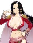 1girl absurdres black_hair blue_eyes boa_hancock breasts breasts_apart cowboy_shot earrings hand_on_hip hand_up highres jewelry large_breasts long_hair long_sleeves looking_at_viewer navel one_piece red_shirt shadow shirt simple_background snake_earrings solo takenoko_no_you white_background