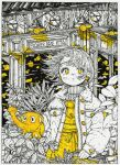 1girl building english_text highres holding jacket kitamurashu leaf long_sleeves looking_at_viewer monochrome original plant solo spot_color upper_body watering_can white_jacket wind yellow_eyes yellow_nails
