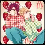 2boys :o alternate_costume artist_name battle_tendency blonde_hair blue_eyes border brown_hair caesar_anthonio_zeppeli candy eyebrows_visible_through_hair facial_mark food fruit green_eyes hands_on_own_cheeks hands_on_own_face highres holding holding_candy holding_food holding_lollipop jojo_no_kimyou_na_bouken joseph_joestar_(young) kogatarou lollipop long_sleeves male_focus multiple_boys open_mouth outline plaid plaid_sweater short_hair sideways_glance signature sleeves_past_wrists strawberry sweater thick_eyebrows undershirt white_outline