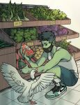 1boy beast_boy_(dc) bird casual colored_skin full_body gabriel_picolo goose green_hair green_skin groceries highres holding mask mouth_mask pointy_ears shoes shopping sneakers squatting tank_top teen_titans watermelon_slice