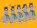 1girl absurdres arms_up bangs black_hair copyright_request covering_mouth dress hands_up highres long_hair looking_at_viewer multiple_views okada_(hoooojicha) polka_dot polka_dot_dress ponytail short_hair signature simple_background sleeveless sleeveless_dress smile white_dress yellow_background