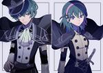 1boy 1girl alternate_costume blue_eyes byleth_(fire_emblem) byleth_(fire_emblem)_(female) byleth_(fire_emblem)_(male) cape dual_persona expressionless eyelashes fire_emblem fire_emblem:_three_houses garreg_mach_monastery_uniform green_hair hairband hat highres looking_at_viewer medium_hair official_alternate_costume peaked_cap sasa_kado_(redbluemoon74) sword upper_body weapon
