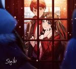 1boy 1girl artist_name black_hair blue_eyes blurry depth_of_field emiya_shirou fate/stay_night fate_(series) holding holding_phone lord_el-melloi_ii_case_files orange_eyes phone phone_booth redhead scarf signature siya_ho snowing tohsaka_rin upper_body