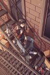 1boy bag beer_can bomber_jacket bottle box brown_hair can cigarette denim fire_escape holding holding_can holding_cigarette itou_kaiji jacket jeans kaiji long_hair male_focus outdoors pants plastic_bag sanatorium_industries shoes sitting sneakers solo stairs window