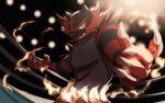 aqua_eyes blurry claws colored_sclera commentary_request fire gen_7_pokemon highres incineroar light looking_at_viewer pokemon pokemon_(creature) signature solo teeth yellow_sclera yukifuri_tsuyu