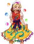 1girl blonde_hair blouse brown_eyes caramelized_tomatoes crown earrings hands jewelry magatama multicolored multicolored_clothes open_mouth orb patterned_clothing rainbow_order red_shirt sash shirt skirt solo tamatsukuri_misumaru tiara touhou unconnected_marketeers yellow_skirt yin_yang yin_yang_orb