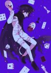 1boy bangs black_footwear black_headwear bong_(0u0bon) cape card chess_piece danganronpa_(series) danganronpa_v3:_killing_harmony dice flipped_hair from_side full_body grin hand_up highres holding holding_mask jacket male_focus mask medium_hair ouma_kokichi pants playing_card profile purple_hair shoes short_hair smile straitjacket torn_cape torn_clothes white_jacket white_pants
