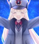 1girl blonde_hair blue_archive blush closed_eyes commentary_request halo hat jacket long_hair meteor_shower mirun_(funimani) night nodoka_(blue_archive) open_mouth outstretched_arms school_uniform sky solo spread_arms star_(sky) starry_sky winter_clothes