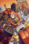 4boys autobot blue_eyes bumblebee cane casey_w._coller clenched_hands decepticon english_commentary holding holding_cane ironhide looking_ahead mecha metalhawk multiple_boys no_humans science_fiction smirk starscream the_transformers_(idw) transformers upper_body