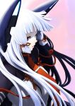 1girl bangs blunt_bangs headgear kantai_collection lefthand long_hair murakumo_(kancolle) necktie orange_eyes remodel_(kantai_collection) sidelocks silver_hair solo very_long_hair