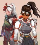 2girls absurdres apex_legends beige_background blush brown_hair crafty_kitsune_rampart dark_skin dark_skinned_female demon's_whisper_wraith electricity english_commentary floating_hair grey_eyes headband highres holding holding_knife knife kunai looking_to_the_side mask mask_on_head multiple_girls nose_piercing nose_ring official_alternate_costume official_alternate_hairstyle oni_mask parted_lips peter_chai piercing ponytail rampart_(apex_legends) smile tooth_gap weapon white_hair white_headband wraith_(apex_legends)