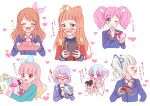 +_+ 6+girls :d ;) ^_^ ^o^ aikatsu! aikatsu!_(series) aikatsu_friends! aikatsu_on_parade! aikatsu_stars! amahane_madoka aqua_dress aqua_eyes bangs bell blazer blue_bow blue_hair blue_jacket blue_ribbon blunt_bangs blush bow bowtie box braid chocolate closed_eyes closed_mouth collared_shirt cropped_jacket cropped_torso crossover crown_braid double_bun doughnut_hair_bun dress drill_hair epaulettes eyebrows_visible_through_hair facing_away facing_viewer fang finger_to_mouth flower food gift gift_box glasses gradient_hair hair_bell hair_bow hair_cones hair_flower hair_ornament hair_over_shoulder hair_ribbon hairband hanazono_kirara hand_on_own_cheek hand_on_own_face heart heart-shaped_box holding holding_box holding_gift incoming_gift index_finger_raised jacket long_hair long_sleeves looking_at_food looking_at_viewer looking_away multicolored multicolored_eyes multicolored_hair multiple_girls nanakura_koharu neck_ribbon one_eye_closed oozora_akari open_mouth orange_hair pink_bow pink_eyes pink_hair purple_jacket purple_shirt red-framed_eyewear red_jacket red_ribbon ribbon saotome_ako school_uniform semi-rimless_eyewear shirt short_hair shushing silver_hair simple_background single_stripe smile star_(symbol) star_harmony_academy_uniform streaked_hair sweater_vest swept_bangs tiramisu651 toudou_yurika translation_request tsundere twin_drills twintails under-rim_eyewear v-shaped_eyebrows valentine venus_ark_uniform violet_eyes wavy_hair wavy_mouth white_background white_jacket white_shirt wing_hair_ornament yellow_bow yellow_eyes yellow_sweater_vest yuuki_aine