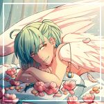 1boy ahoge androgynous angel_wings bangs cheer_(cheerkitty14) commentary earrings feathered_wings flower green_hair highres jewelry jewelry_removed looking_at_viewer lotus lying male_focus necklace necklace_removed on_stomach original pillow pink_flower shiny shiny_hair smile solo teeth white_wings wings