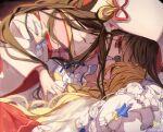 2girls blonde_hair bow braid brown_hair closed_eyes girl_on_top hair_bow hakurei_reimu japanese_clothes kimono kirisame_marisa long_hair long_sleeves multiple_girls piyokichi red_eyes star_(symbol) touhou touhou_lost_word tsunokakushi uchikake upper_body white_bow white_kimono wide_sleeves yuri