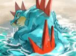 claws fangs fangs_out feraligatr fish from_behind gen_2_pokemon highres no_humans pecohophop pokemon pokemon_(creature) wading water wet yellow_eyes