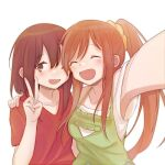 2girls :d ^_^ amber_golley brown_hair closed_eyes hair_between_eyes hand_on_another's_shoulder highway_blossoms inuko_(ink0425) long_hair marina_hale medium_hair multiple_girls one_eye_closed open_mouth orange_hair ponytail selfie side-by-side smile v white_background yuri