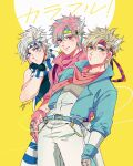 3boys :o alternate_color alternate_eye_color alternate_hair_color artist_name battle_tendency belt black_gloves blonde_hair blue_belt blue_eyes blue_gloves blue_jacket blue_pants blue_scarf caesar_anthonio_zeppeli closed_mouth commentary eyebrows_visible_through_hair facial_mark feathers fingerless_gloves gloves green_eyes hair_feathers hand_on_hip hand_on_own_cheek hand_on_own_face headband highres jacket jojo_no_kimyou_na_bouken kogatarou leaning_back leaning_forward looking_at_viewer looking_to_the_side male_focus multiple_boys multiple_persona official_alternate_costume pants pink_eyes pink_hair pink_jacket pink_scarf scarf short_hair sideways_glance signature sleeveless smile striped striped_pants striped_scarf symbol_commentary triangle_print vest white_hair white_pants white_scarf white_vest yellow_background