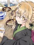 1girl ahoge artoria_pendragon_(all) bangs blonde_hair blush chewing commentary_request cup dutch_angle eating fate/grand_order fate_(series) food food_on_face from_behind japanese_clothes kakao_choko kimono looking_at_viewer mysterious_heroine_x_(alter)_(fate) obi oyster sash semi-rimless_eyewear sidelocks skewer solo tea teapot upper_body yellow_eyes yukata yunomi