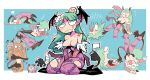 1girl :< :o bandages black_footwear black_leotard black_wings blue_background boots broken_arm cartoonized covering covering_breasts covering_crotch cutout_below_navel demon_girl extra_arms flag head_bump head_wings heart high_heel_boots high_heels kneeling leotard long_hair morrigan_aensland purple_legwear rariatto_(ganguri) tan tanline tears tongue tongue_out triangle_mouth vampire_(game) violence waving_arm white_flag wings