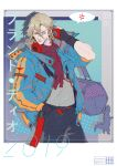 1boy 2019 alternate_costume bag bandaid bandaid_on_face bandaid_on_nose black_pants blonde_hair blue_eyes chain character_name closed_mouth dated dinosaur dio_brando hand_in_pocket headphones headphones_around_neck highres jacket jojo_no_kimyou_na_bouken lips long_sleeves looking_to_the_side loose_clothes pants red_scarf scarf shirt shoulder_bag speech_bubble steel_ball_run toy_dinosaur white_shirt youamo zipper