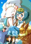 1girl :d absurdres bangs blue_eyes blue_pants blue_sailor_collar blush commentary_request day eevee eyelashes gen_1_pokemon gen_7_pokemon hairband highres knees_together lana_(pokemon) open_mouth outdoors pants pokemon pokemon_(anime) pokemon_(creature) pokemon_sm_(anime) primarina sailor_collar saki_pokeoekaki sandals shirt short_hair sitting sky sleeveless sleeveless_shirt smile toes tongue water water_drop white_shirt yellow_hairband