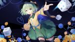 1girl :d absurdres black_legwear blouse blue_flower blue_rose blush breasts cho_kagaku_no_rei_kyoju commentary_request dice floral_print flower foreshortening green_eyes green_hair green_skirt hat heart heart_of_string highres komeiji_koishi looking_at_viewer night night_sky open_mouth plant pointing rose short_hair skirt sky small_breasts smile solo thigh-highs touhou vines yellow_blouse yellow_flower yellow_rose