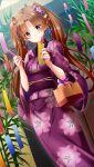 1girl blush brown_eyes brown_hair closed_mouth doukyuusei_another_world dutch_angle eyebrows_visible_through_hair floating_hair floral_print flower game_cg hair_flower hair_ornament hairpin holding holding_pen japanese_clothes kakyuusei kanou_ryouko kimono long_hair official_art pen print_kimono purple_flower purple_kimono shiny shiny_hair smile solo standing tanabata tanzaku very_long_hair yukata