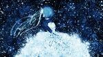 1girl aqua_hair bangs bare_shoulders blue_hair clouds dress hatsune_miku highres long_hair miku_append night nikitjke6996 original sky solo space star_(sky) starry_sky very_long_hair vocaloid vocaloid_append wallpaper
