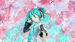 1girl aqua_hair bangs bare_shoulders blue_hair colorful hatsune_miku headphones highres long_hair looking_at_viewer multicolored multicolored_background nikitjke6996 solo splatter splatter_background twintails vocaloid vocaloid_append wallpaper