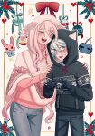 1boy 1girl :d ahoge alternate_costume android animal_hood animal_print bangs black_hoodie black_pants blue_eyes blush bow bunny_hood bunny_print cat_hood cheer_(cheerkitty14) christmas_ornaments closed_eyes danganronpa_(series) danganronpa_v3:_killing_harmony denim grey_hair hands_on_another's_shoulders heart highres hood hoodie index_fingers_together iruma_miu jeans keebo long_hiar nail_polish open_mouth pants pink_nails pink_sweater poncho red_bow smile sweater upper_teeth