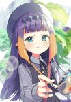 1girl :3 absurdres apron bangs beret blue_eyes blush day gradient_hair hat highres holding holding_paintbrush hololive light_rays long_hair looking_at_viewer multicolored_hair ninomae_ina'nis okarin_(tennisofoka) outdoors paintbrush palette purple_hair solo upper_body