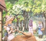 3girls alice_margatroid apron basket blonde_hair blue_dress book broom capelet commentary_request day dress forest hat highres holding holding_basket holding_book holding_broom house kirisame_marisa long_hair mob_cap multiple_girls nature outdoors patchouli_knowledge profile purple_dress purple_hair shiratama_(hockey) short_hair standing sweeping touhou trail tree violet_eyes waist_apron white_capelet witch_hat yellow_eyes