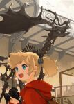 1girl akai_sashimi antlers blonde_hair blue_eyes brown_bag camera eyebrows_visible_through_hair fossil holding holding_camera hood hood_down indoors jacket mizunami_fossil_museum mizunami_mio museum open_mouth red_jacket smile solo twintails upper_body