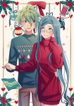 1boy 1girl amami_rantarou bangs blue_hair blush bow brown_eyes brown_pants cheer_(cheerkitty14) christmas_ornaments couple cowboy_shot danganronpa_(series) danganronpa_v3:_killing_harmony ear_piercing earrings english_commentary glasses green_eyes green_hair grin hair_between_eyes hand_on_another's_hip hand_on_own_cheek hand_on_own_face heart highres holding_hands jewelry long_hair looking_at_another map_(object) open_mouth pale_skin pants piercing red_bow red_nails red_sweater ribbed_sweater shirogane_tsumugi smile star_(symbol) sweater turtleneck turtleneck_sweater white_background