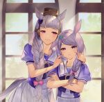 2girls :3 animal_ears aqua_ribbon bangs blush bow braid braided_ponytail brown_headwear commentary_request crossed_arms ear_ribbon eyebrows_visible_through_hair gold_ship_(umamusume) hair_bow hands_on_another's_cheeks hands_on_another's_face highres horse_ears horse_girl horse_tail indoors looking_at_another looking_at_viewer mejiro_mcqueen_(umamusume) multiple_girls pillbox_hat pink_bow pink_eyes puffy_short_sleeves puffy_sleeves purple_bow purple_hair purple_shirt ribbon shirt short_sleeves silver_hair skirt swept_bangs tail tsunakawa twintails umamusume upper_body vector_trace violet_eyes white_skirt