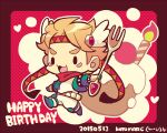 1boy :3 artist_name battle_tendency birthday blonde_hair caesar_anthonio_zeppeli candle chibi commentary_request cupcake dated facial_mark fingerless_gloves food fork full_body gloves green_footwear green_gloves green_jacket happy_birthday headband heart holding holding_fork jacket jojo_no_kimyou_na_bouken knee_pads kotorai male_focus no_nose open_mouth outstretched_arms oversized_object pants polka_dot polka_dot_background red_scarf red_stone_of_aja red_theme scarf shirt solid_oval_eyes solo spread_arms triangle_print v-shaped_eyebrows white_pants white_shirt wing_hair_ornament
